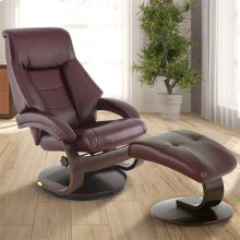 Mandal Recliner and Ottoman in Merlot Top Grain Leather