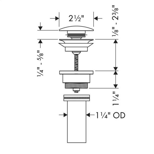 Polished Nickel Drain for Sinks, Push-Open