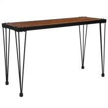 Rustic Walnut Burl Wood Grain Finish Console Table with Black Metal Legs