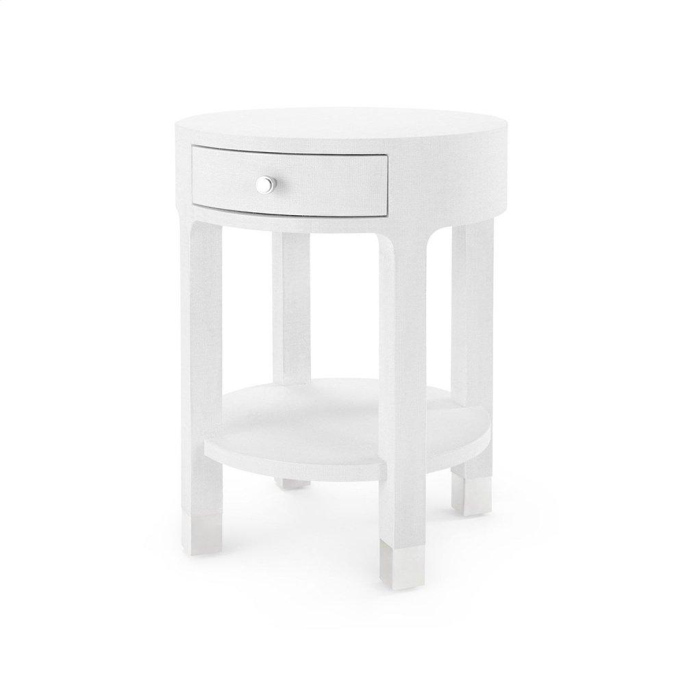 Dakota 1-Drawer Round Side Table, White