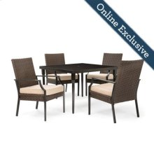 Addyson 5pc Cushioned Dining Set (Square table and 4 stationary)