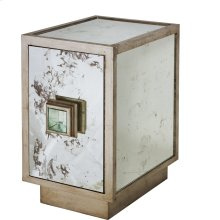 Antique Mirror and Champagne Silver Leaf One Door Side Table Cabinet With Single Interior Shelf.