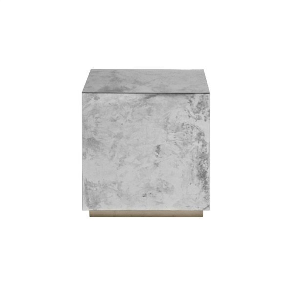 Antique Mirror Cocktail Cube With Champagne Silver Leaf Base.