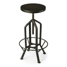 This innovative and fashionably industrial bar stool not only swivels ™ it adjusts. No, not to your mood, but to precisely how high you want to sit. Crafted from iron and recycled wood in a black finish.