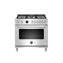 36 inch Dual Fuel Range, 6 Brass Burners, Electric Self-Clean Oven Stainless Steel