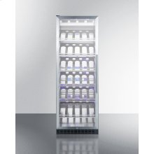 Full-size Commercially Listed Wine Cellar With Stainless Steel Interior, Champagne Shelving, Digital Controls, Self-closing Glass Door, and Black Cabinet