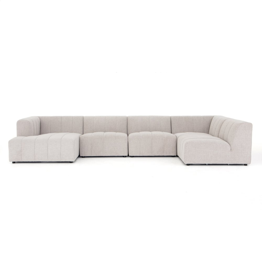 Langham Channeled 5-pc Laf Chaise Secti