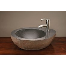 Natural Vessel With Faucet Mount Gray Granite