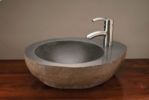 Natural Vessel With Faucet Mount Gray Granite Product Image