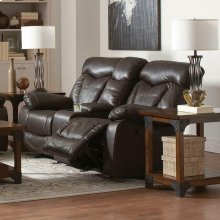 Zimmerman Dark Brown Faux Leather Power Motion Loveseat