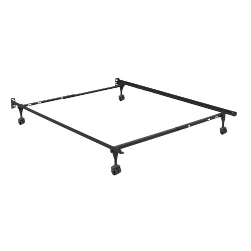 Sentry Adjustable Bed Frame 79R with Headboard Brackets and (4) 2-Inch Rug Roller Legs, Twin / Full