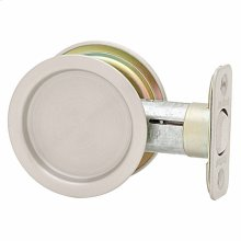 Round Hall/Closet Pocket Door Lock - Satin Nickel