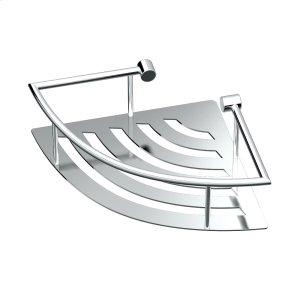 Elegant Corner Shelf with Rails in Chrome Product Image