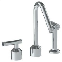 Deck Mounted 3 Hole Kitchen Set With Angled Spout- Includes Side Spray