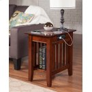 Mission Chair Side Table with Charger Walnut Product Image