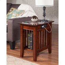 Mission Chair Side Table with Charger Walnut