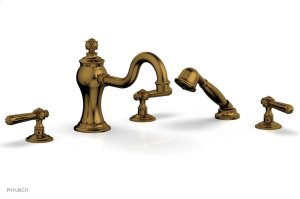 MARVELLE Deck Tub Set with Hand Shower - Lever Handles 162-49 - French Brass Product Image