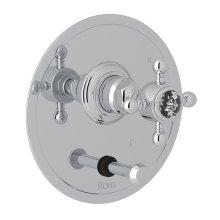 Polished Chrome Italian Bath Pressure Balance Trim With Diverter with Crystal Cross Handle