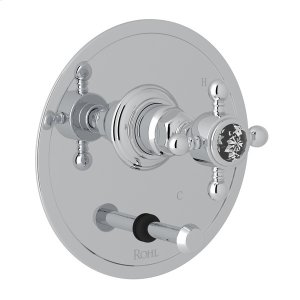 Polished Chrome Italian Bath Pressure Balance Trim With Diverter with Crystal Cross Handle Product Image