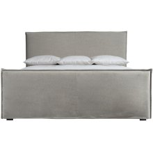 Queen-Sized Gerston Slipcovered Bed in Espresso