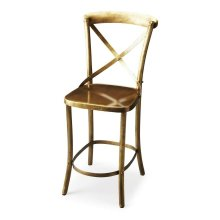 """Engineered with iron, this bar stool has an attractive """"X """" shaped back and slight curved legs. It has a beautiful gold tone finish that blends well with most of the decor. The base It has a comfortable square seat, this bar stools include a foot res"""