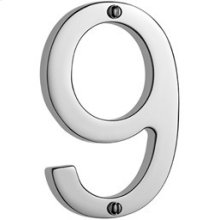 """Antique Brass Unlacquered Door numeral """"9"""""""