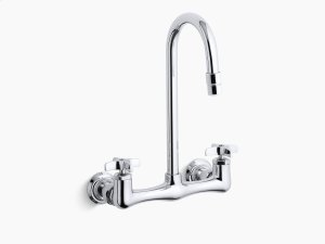 Polished Chrome Double Cross Handle Utility Sink Faucet With Gooseneck Spout Product Image