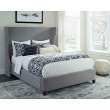 Grey Queen Upholstered Bed