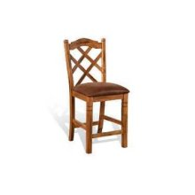 "24""H Sedona Double Crossback Barstool, Cushion Seat"