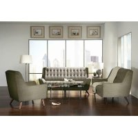 Natalia Mid-century Modern Dove Grey Three-piece Living Room Set Product Image
