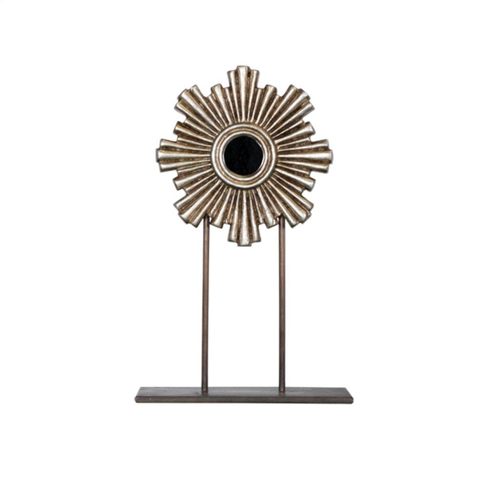 Small Silver Leaf Iron-wood Mini Mirror On Iron Stand.