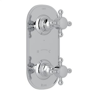 """Polished Chrome Italian Bath 1/2"""" Thermostatic/Diverter Control Trim with Cross Handle Product Image"""