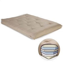 8-Inch Futon Mattress with Multi-Layer Cotton and Foam Core, Khaki