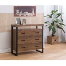 Rustic Amber Three-drawer Accent Cabinet