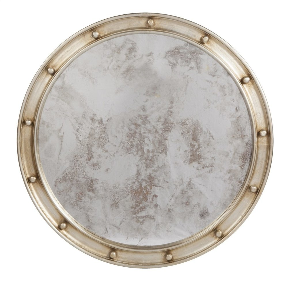 Large Champagne Silver Leaf Federal Style Frame With Antique Mirror.