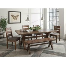 Alston Rustic Wavy Edge Six-piece Dining Set
