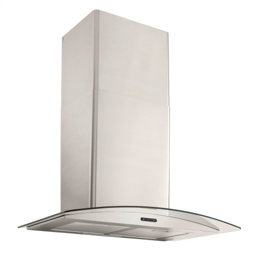 36-In. Convertible Wall Mount Curved Glass Chimney Range Hood with LED Light in Stainless Steel
