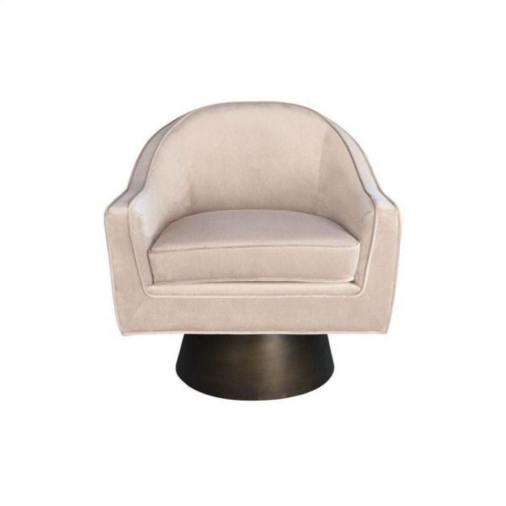 Modern Swivel Chair With Bronze Base In Blush Velvet