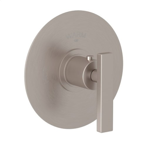 Satin Nickel Pirellone Thermostatic Trim Plate Without Volume Control with Metal Levers