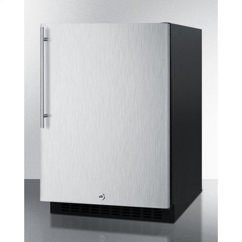 Built-in Undercounter ADA Compliant All-refrigerator With Wrapped Stainless Steel Door, Vertical Handle, Black Cabinet, Door Storage, and Digital Controls