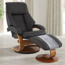 Mandal Recliner and Ottoman in Espresso Top Grain Leather