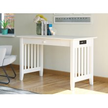 Mission Desk with Drawer and Charging Station White