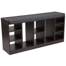 Charcoal Wood Finish Storage Bench with Cushion