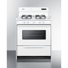 """30"""" Wide Gas Range In White With Sealed Burners, Digital Clock/timer, Oven Window, Interior Light, and Spark Ignition"""