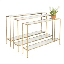 Hammered Gold Leaf Console With Clear Glass Shelves.