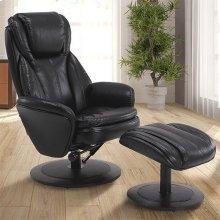 Norway Recliner and Ottoman in Black Breathable Air Leather