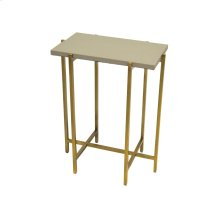 Antique Brass Side Table With Grey Faux Shagreen Rectangle Top
