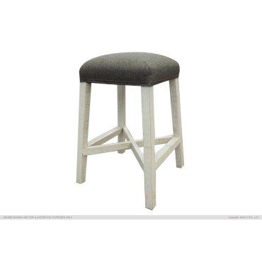 "24"" Stool w/fabric seat & Ivory Finish"
