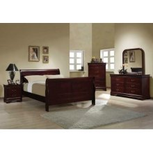 Louis Philippe Traditional Red Brown Queen Four-piece Set