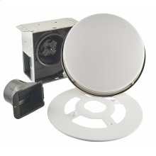 Roomside Series Single Speed 110 CFM Decorative Bathroom Exhaust Fan with Round Flat Panel LED Light in Brushed Nickel, ENERGY STAR certified **COMING SOON**